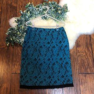 Rickie Freeman Teri Jon Pencil Chiffon Skirt